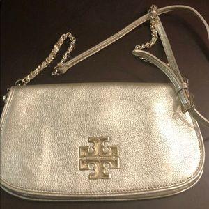 Metallic gold Tory Burch crossbody bag